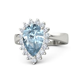 Pear Aquamarine Platinum Ring with Diamond