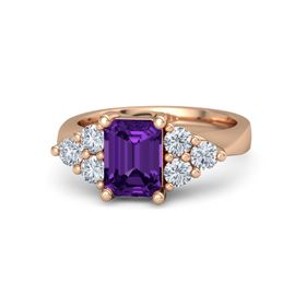 Emerald Amethyst 14K Rose Gold Ring with Diamond