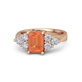 Emerald-Cut Fire Opal 14K Rose Gold Ring with Diamond