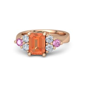 Emerald Fire Opal 14K Rose Gold Ring with Diamond and Pink Sapphire
