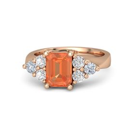 Emerald Fire Opal 14K Rose Gold Ring with White Sapphire and Diamond