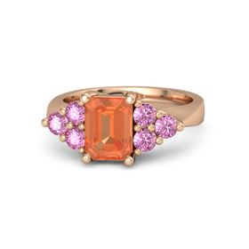 Emerald Fire Opal 14K Rose Gold Ring with Pink Sapphire