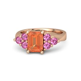 Emerald Fire Opal 14K Rose Gold Ring with Pink Tourmaline