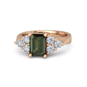Emerald-Cut Green Tourmaline 14K Rose Gold Ring with Diamond