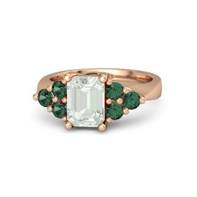 Emerald Green Amethyst 14K Rose Gold Ring with Alexandrite