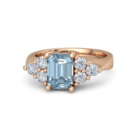 Emerald-Cut Aquamarine 14K Rose Gold Ring with Diamond