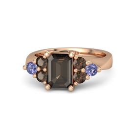 Emerald Smoky Quartz 14K Rose Gold Ring with Smoky Quartz and Tanzanite