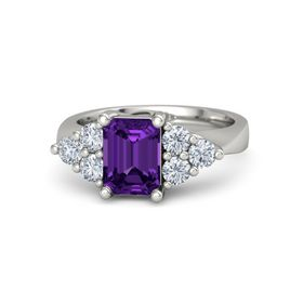 Emerald-Cut Amethyst 14K White Gold Ring with Diamond