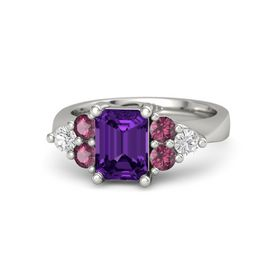 Emerald Amethyst 14K White Gold Ring with Rhodolite Garnet and White Sapphire