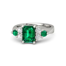Emerald-Cut Emerald 14K White Gold Ring with White Sapphire & Emerald