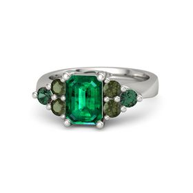 Emerald Emerald 14K White Gold Ring with Green Tourmaline and Alexandrite