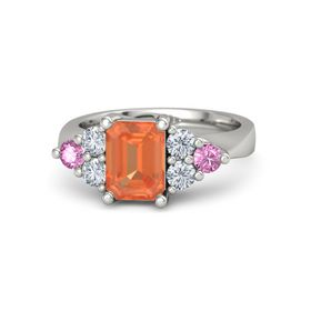 Emerald Fire Opal 14K White Gold Ring with Diamond and Pink Sapphire
