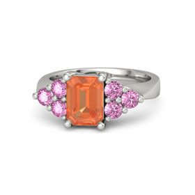 Emerald Fire Opal 14K White Gold Ring with Pink Sapphire