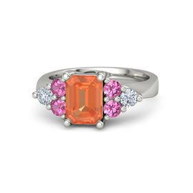 Emerald Fire Opal 14K White Gold Ring with Pink Tourmaline and Diamond