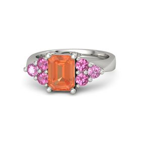 Emerald Fire Opal 14K White Gold Ring with Pink Tourmaline and Pink Sapphire