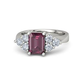 Emerald-Cut Rhodolite Garnet 14K White Gold Ring with Diamond
