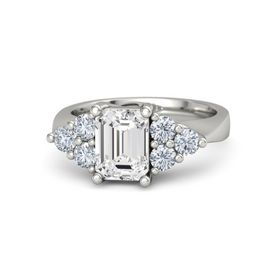 Emerald-Cut White Sapphire 14K White Gold Ring with Diamond
