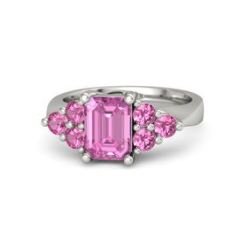 Emerald Pink Sapphire 14K White Gold Ring with Pink Tourmaline