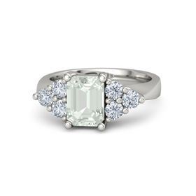 Emerald-Cut Green Amethyst 14K White Gold Ring with Diamond