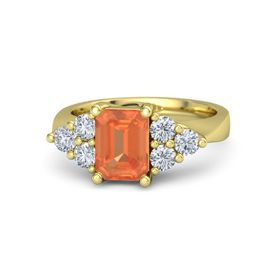 Emerald-Cut Fire Opal 14K Yellow Gold Ring with Diamond