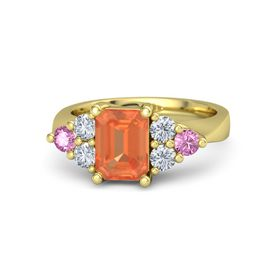 Emerald Fire Opal 14K Yellow Gold Ring with Diamond and Pink Sapphire