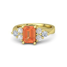 Emerald-Cut Fire Opal 14K Yellow Gold Ring with White Sapphire & Diamond
