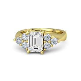 Emerald-Cut White Sapphire 14K Yellow Gold Ring with Diamond