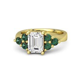 Emerald White Sapphire 14K Yellow Gold Ring with Alexandrite