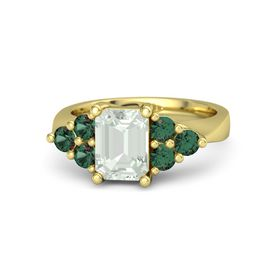 Emerald Green Amethyst 14K Yellow Gold Ring with Alexandrite