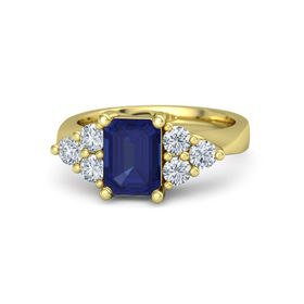 Emerald-Cut Sapphire 14K Yellow Gold Ring with Diamond