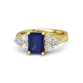 Emerald-Cut Sapphire 14K Yellow Gold Ring with White Sapphire & Diamond