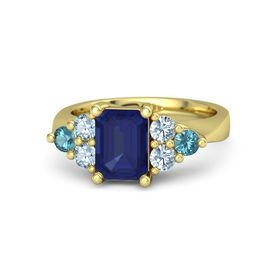Emerald Blue Sapphire 14K Yellow Gold Ring with Aquamarine and London Blue Topaz