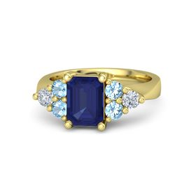 Emerald-Cut Sapphire 14K Yellow Gold Ring with Blue Topaz & Diamond