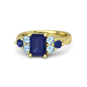Emerald Blue Sapphire 14K Yellow Gold Ring with Blue Topaz and Blue Sapphire