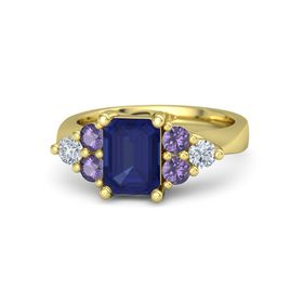 Emerald Blue Sapphire 14K Yellow Gold Ring with Iolite and Diamond