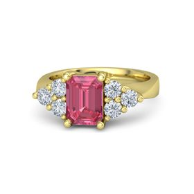 Emerald-Cut Pink Tourmaline 14K Yellow Gold Ring with Diamond
