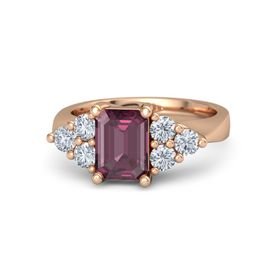 Emerald Rhodolite Garnet 18K Rose Gold Ring with Diamond