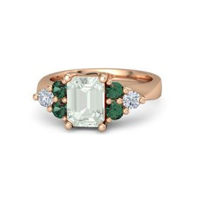 Emerald Green Amethyst 18K Rose Gold Ring with Alexandrite and Diamond