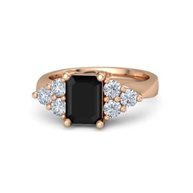 Emerald Black Onyx 18K Rose Gold Ring with Diamond