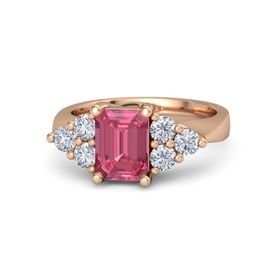 Emerald Pink Tourmaline 18K Rose Gold Ring with Diamond