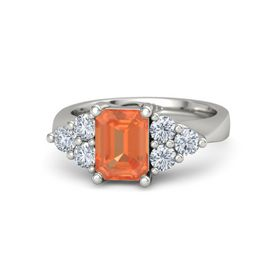 Emerald-Cut Fire Opal 18K White Gold Ring with Diamond