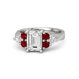 Emerald White Sapphire 18K White Gold Ring with Ruby and White Sapphire