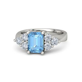Emerald Blue Topaz 18K White Gold Ring with Diamond
