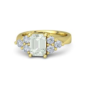 Emerald-Cut Green Amethyst 18K Yellow Gold Ring with Diamond