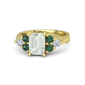 Emerald-Cut Green Amethyst 18K Yellow Gold Ring with Alexandrite & Diamond