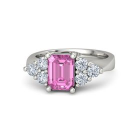 Emerald-Cut Pink Sapphire Palladium Ring with Diamond