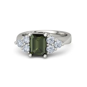 Emerald-Cut Green Tourmaline Palladium Ring with Diamond