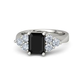 Emerald-Cut Black Onyx Palladium Ring with Diamond