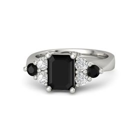 Emerald-Cut Black Onyx Platinum Ring with White Sapphire & Black Onyx