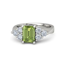 Emerald-Cut Peridot Platinum Ring with Diamond